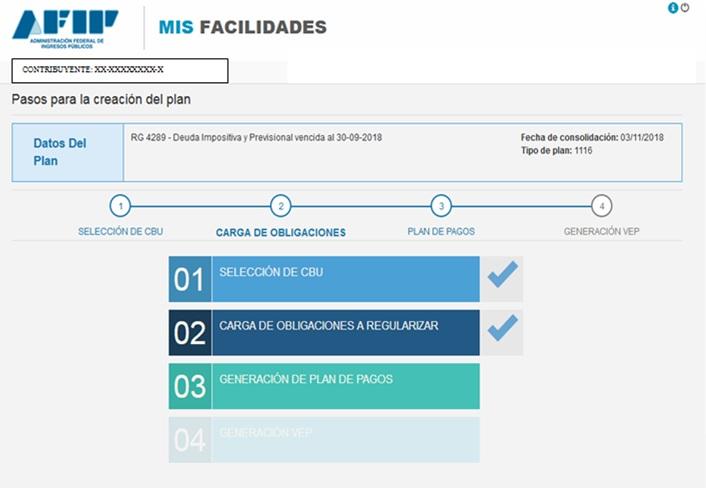 PASOS PARA - CRECION DEL PLAN - RG 4289 - DEUDAS - PLAN DE PAGO