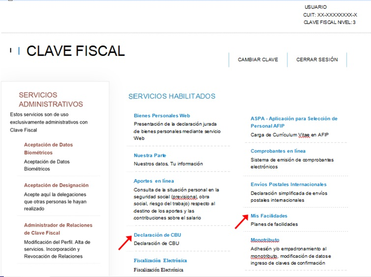clave fiscal - servicios - administrativo - declaración de CBU