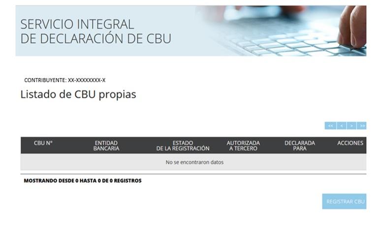Servicio integral de delcaracion de cbu - listado de cbu propias - contribuyente - registros