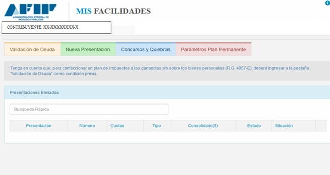 afip - mis facilidades - contribuyente - validacion de deuda - nueva presentacion - concursos y quiebres - parámetro plan permanente