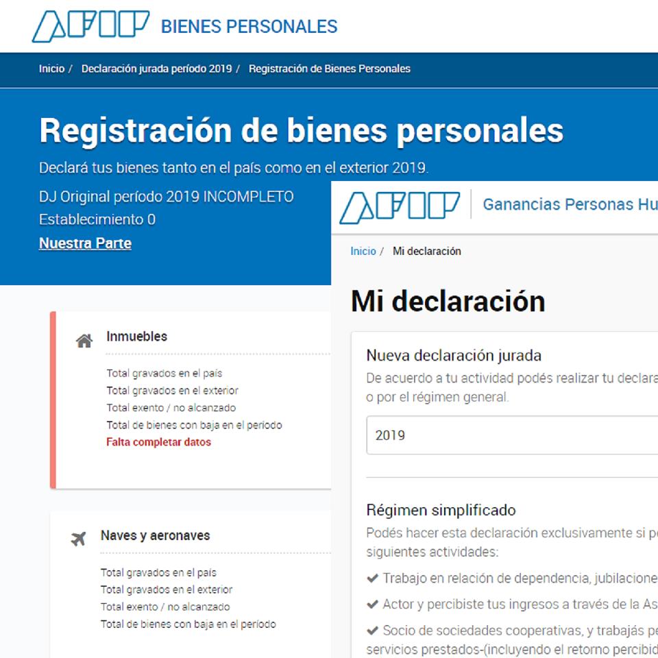 AFIP ganancias y bienes personales 2019